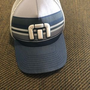 Travis Matthew Blue, White and Gray fitted hat